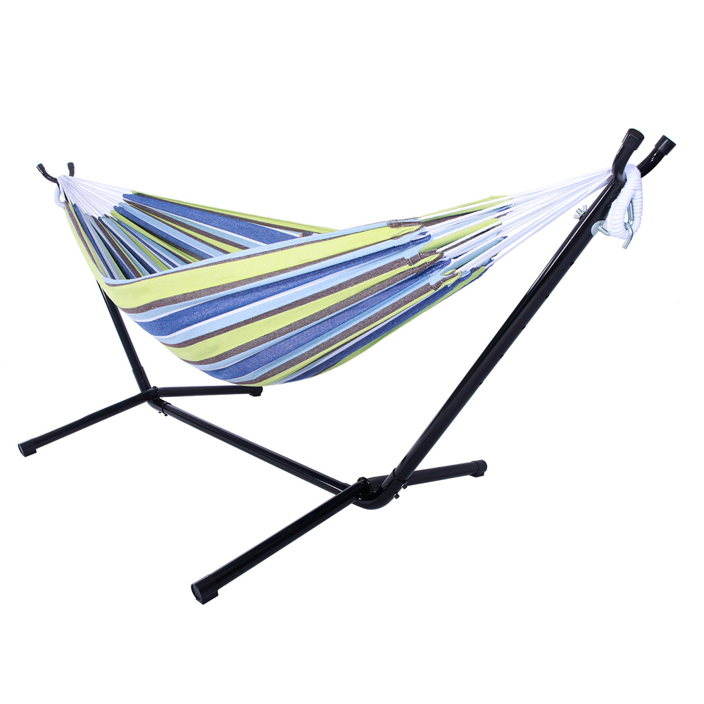 Top Knobs Double Hammock Set Hammock Stand with Hammock, Portable Hammock Stand Heavy Duty Steel Standfor Outdoor Patio Or Indoor with Carrying Case