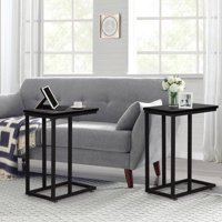 VECELO Set of 2 C-Table Bed Side End Table Living Room Furniture,Black