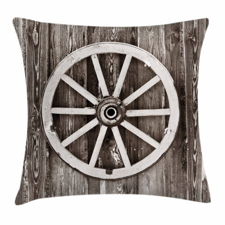 Barn Wood Wagon Wheel Throw Pillow Cushion Cover, Retro Wheel on Timber Wall Barn House Village Cart Circle, Decorative Square Accent Pillow Case, 18 X 18 Inches, Dark Brown and White, by Ambesonne