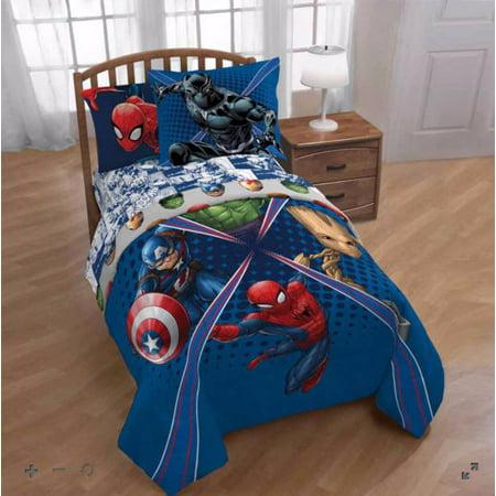 Avengers Blue Marvel Comics Boys Twin Comforter, Sheets & BONUS SHAM (5  Piece Bed In A Bag)