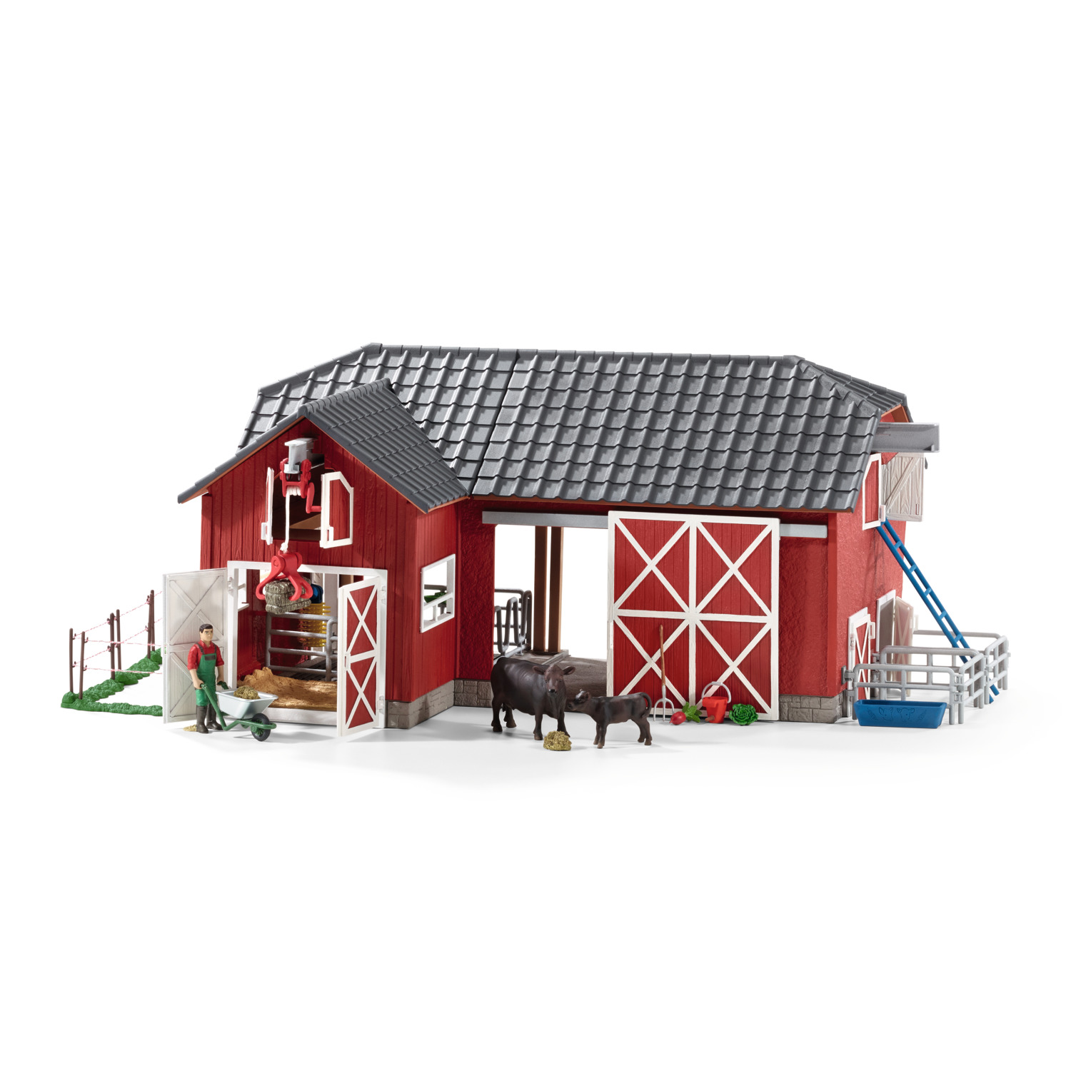 Schleich Farm World, Large Red Barn and with Animals and Accessories Toy Figure by Schleich USA Inc