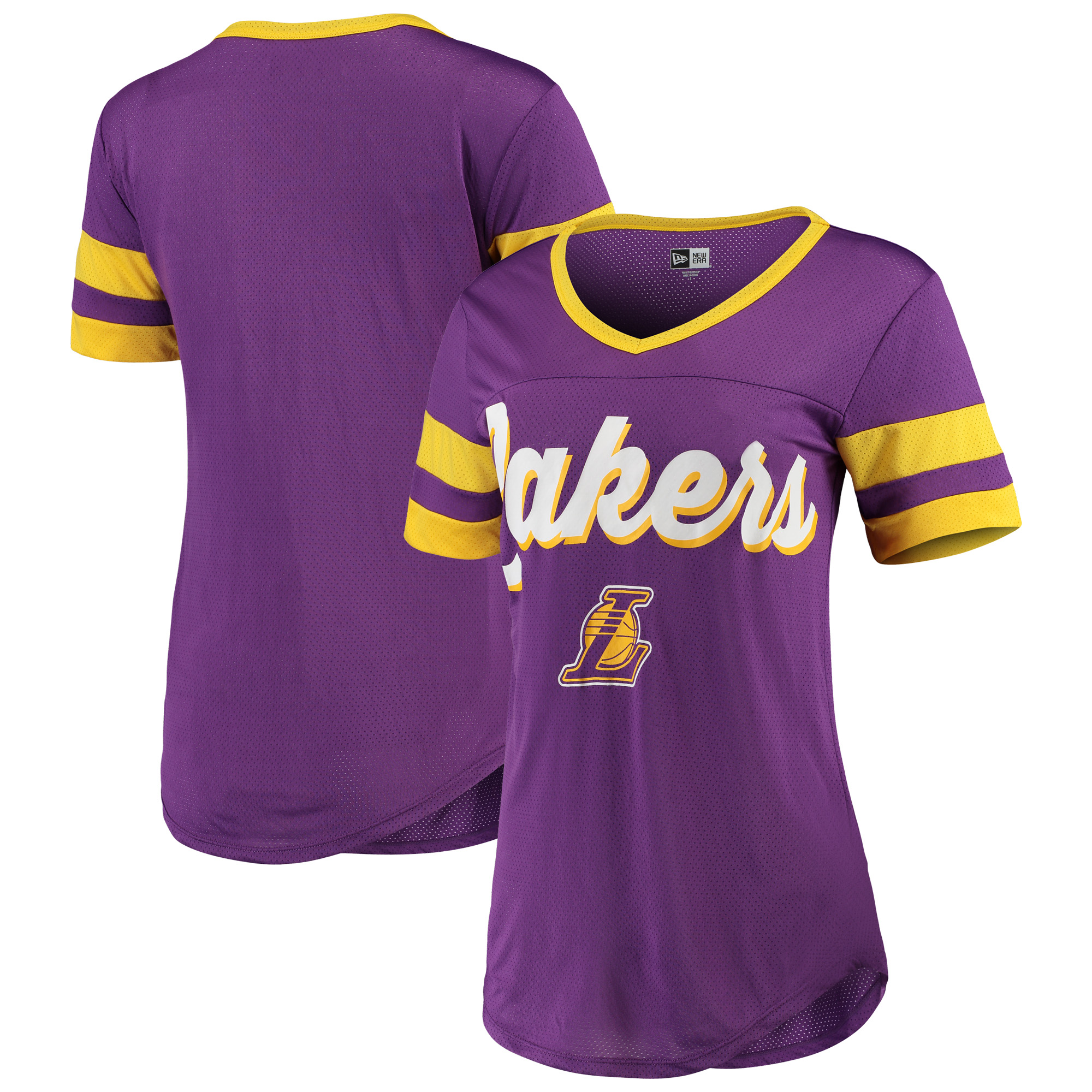 Los Angeles Lakers New Era Women's Contrast Insert V-Neck T-Shirt - Purple/Gold