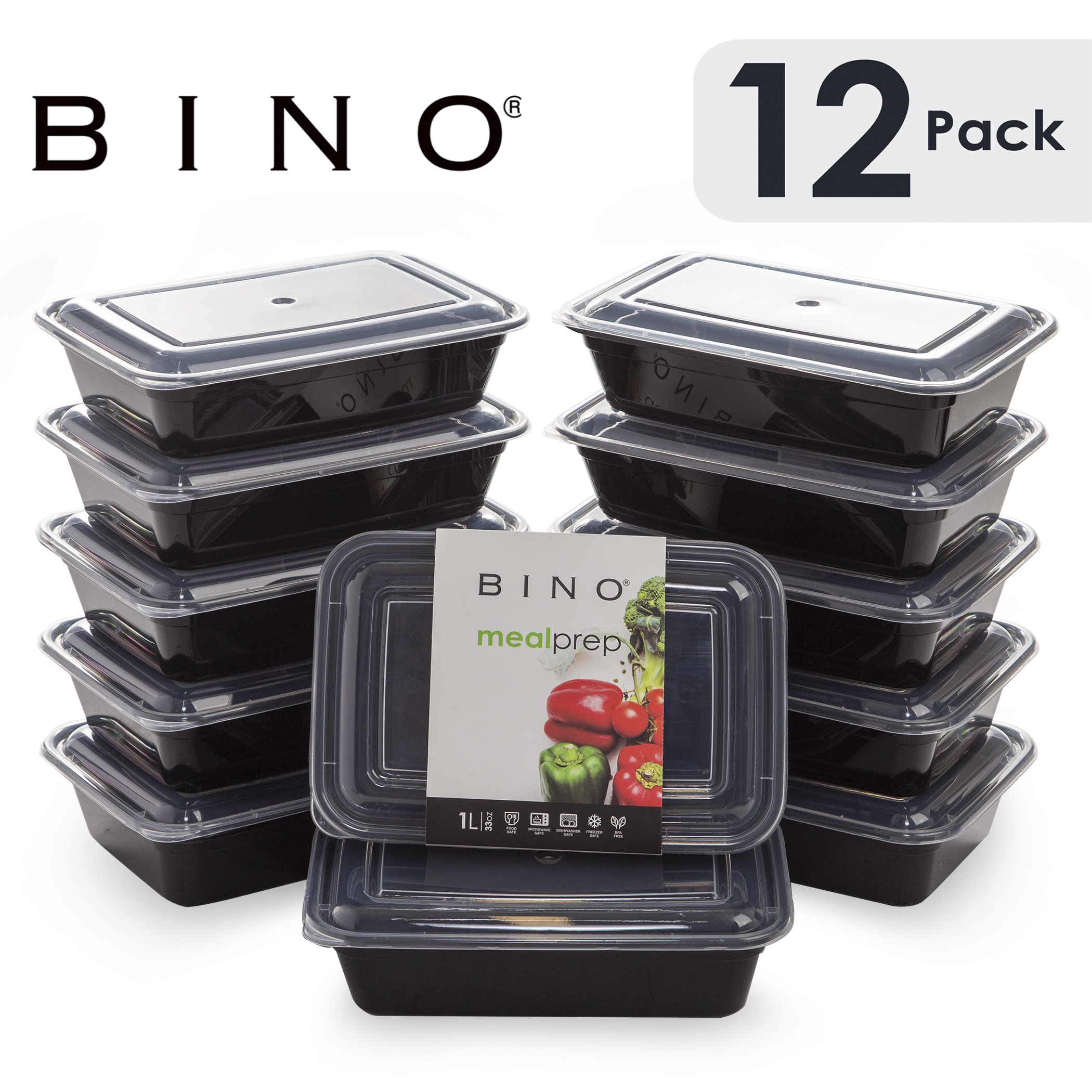 Bino Meal Prep Containers With Lids 1 Compartment 33 Oz 12 Pack Bento Box Lunch Containers For Adults Food Containers Meal Prep Food Prep Containers Tupperware Set Walmart Com Walmart Com