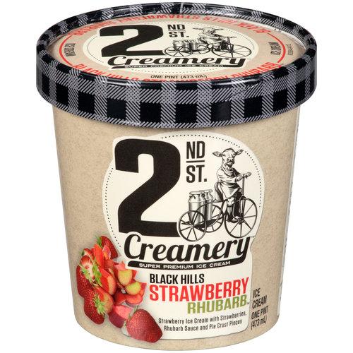 2nd St. Creamery Black Hills Strawberry Rhubarb Ice Cream, 1 pt