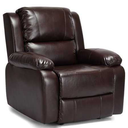 Costway Manual Recliner Sofa Lounge Chair PU Leather Home Theater Padded Reclining Brown (Leather Chaise Recliner)