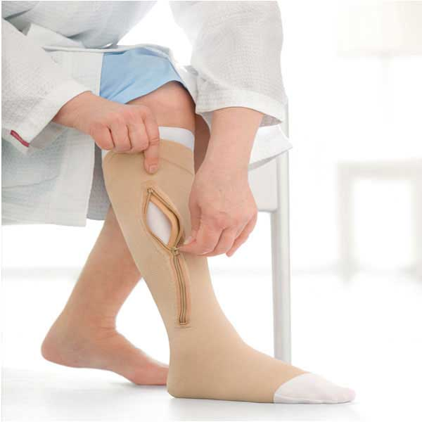 Jobst Ulcercare - XXXX-Large - Beige - Knee High - Open Toe - Right Side Zipper