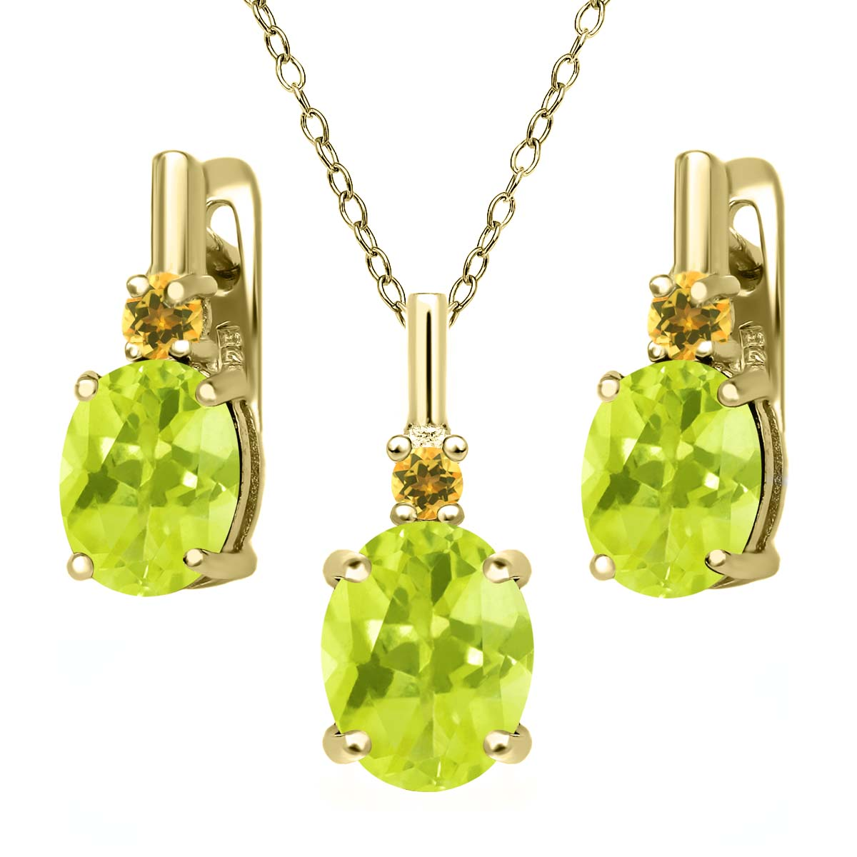 Lemon Quartz and Simulated Citrine 18K Gold Plated Silver Pendant Earrings Set by