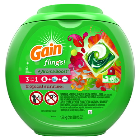 Gain flings! plus Aroma Boost Laundry Detergent Pacs, Tropical Sunrise, 57 Count