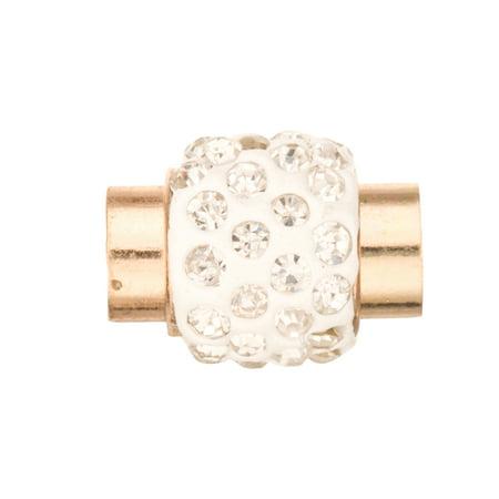 4pcs Polymer Clay Rhinestone Jewelry Clasps - Gold Finished 13x16mm