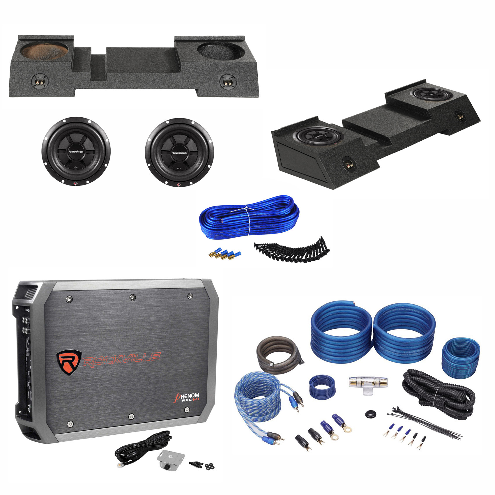 Dual 10 Sub Enclosure Subs Amp Kit For 01 16 Chevy Avalanche Subwoofer Wiring With 14 Gauge Speaker Cadillac Escalade