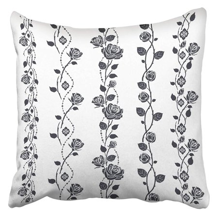 Cmfun Floral Rose Tattoo Border Pattern Black Silhouette White