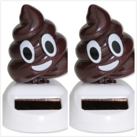 Setter Gift (2 Emoji Poop Solar Powered Waving Toy Gift Home Decor USA Seller EHD )