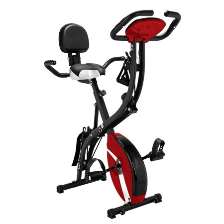 Folding Upright Exercise Bike, 3-in-1 Foldable Indoor Semi Recumbent Cycling Bikes, Stationary Bike Exercise Equipment w/ 8 Levels Magnetic Resistance, Anti-slip Pedal Holds 260 lbs, Red, Q5241 ()