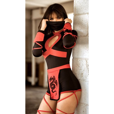 Dragon Ninja Costume, Black And Red Sexy Ninja Costume