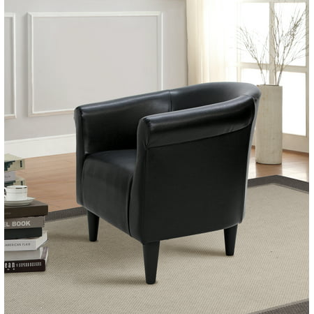- Mainstays Faux Leather Bucket Accent Chair, Multiple Colors