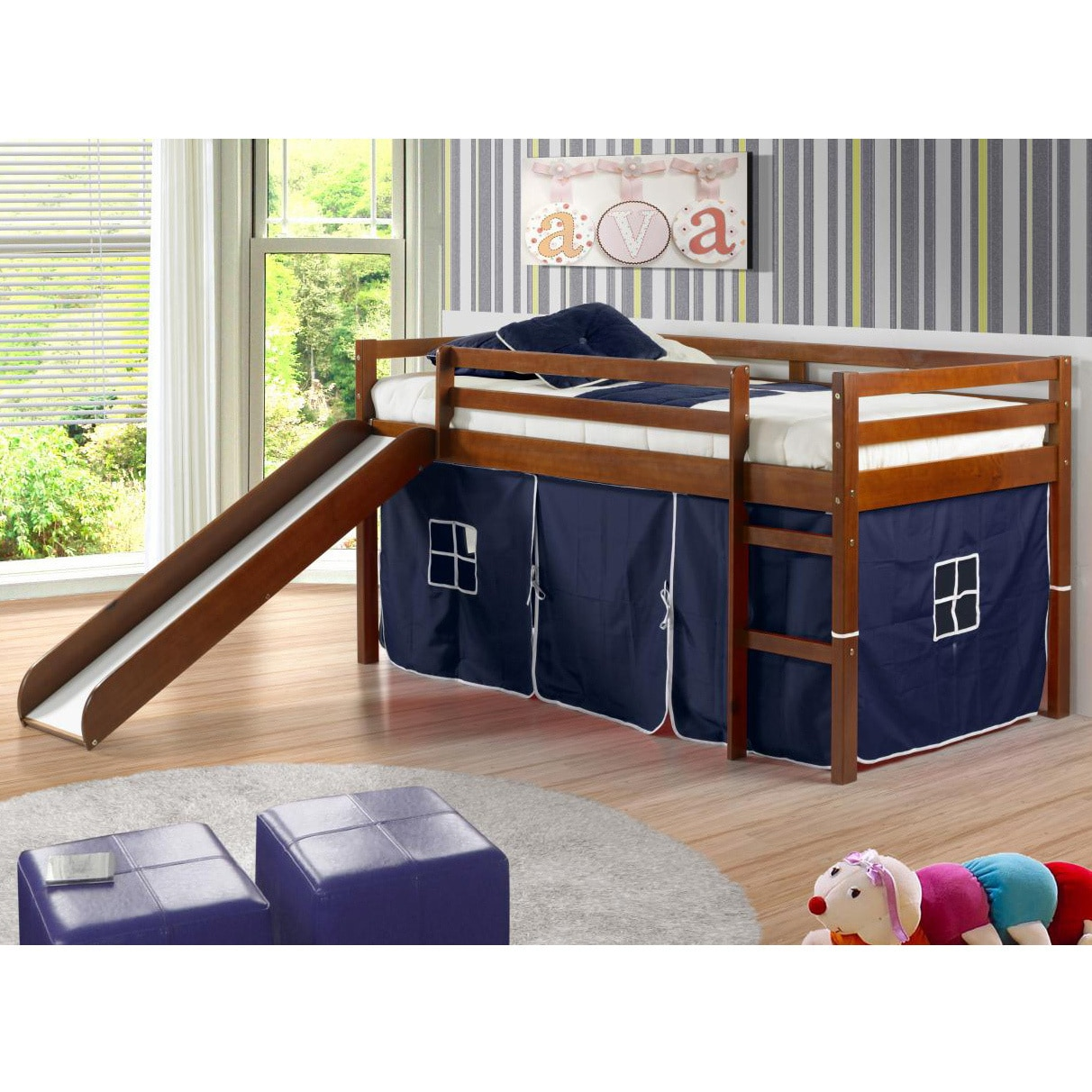 Donco Kids Tent Twin Low Loft Bed With Slide Walmart Com