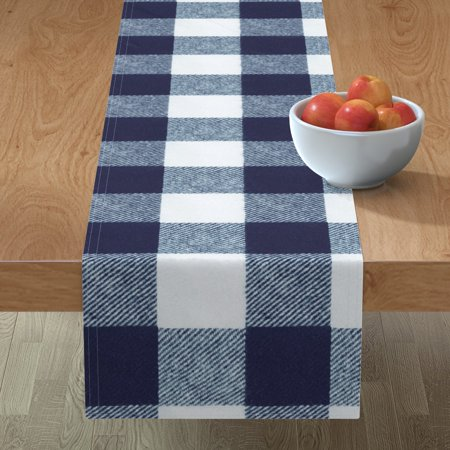 Image of Table Runner Buffalo Check Gingham Woods Boys Room Navy Cotton Sateen