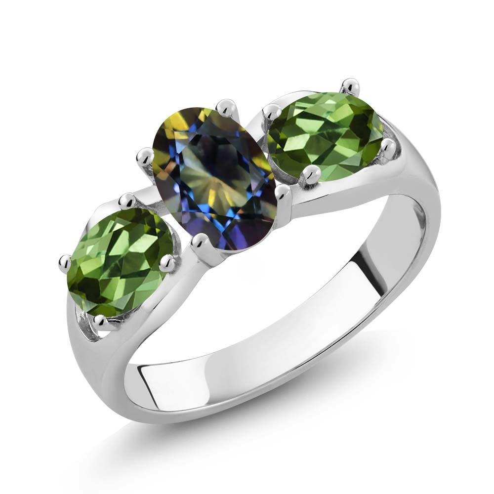 1.80 Ct Oval Blue Mystic Topaz Green Tourmaline 14K White Gold Ring by
