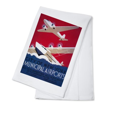 New Municipal Airport (New York City Municipal Airport - Vintage Travel Poster (100% Cotton Kitchen Towel))