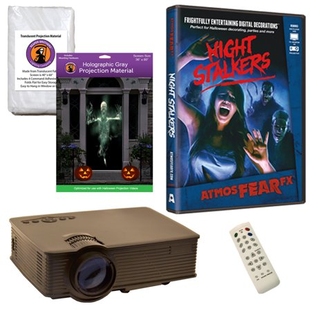 Halloween Projector Kit for Windows, Doors & Walls with Night Stalkers AtmosFEARFx DVD + 2 Screens + Projector