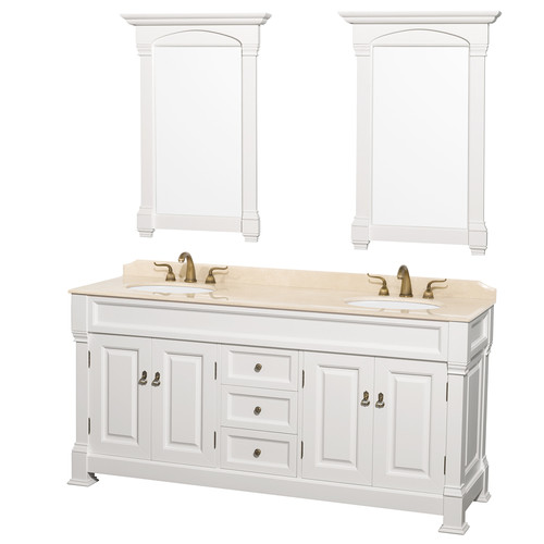 Wyndham Collection Andover 72 inch Double Bathroom Vanity in White, Ivory Marble Countertop, Undermount Oval Sinks, and 28 inch Mirrors