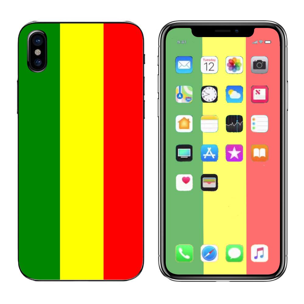 Skins Decals For Apple Iphone X 10  / Rasta Reggae Colors