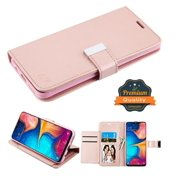 Samsung Galaxy A20 Phone Case Leather Flip ID Credit Card Cash Wallet Holder Stand Pouch Folio Magnet with extra 5 Card Slots Pocket & Kickstand Function Rose Gold Cover for Samsung Galaxy A20 /A205