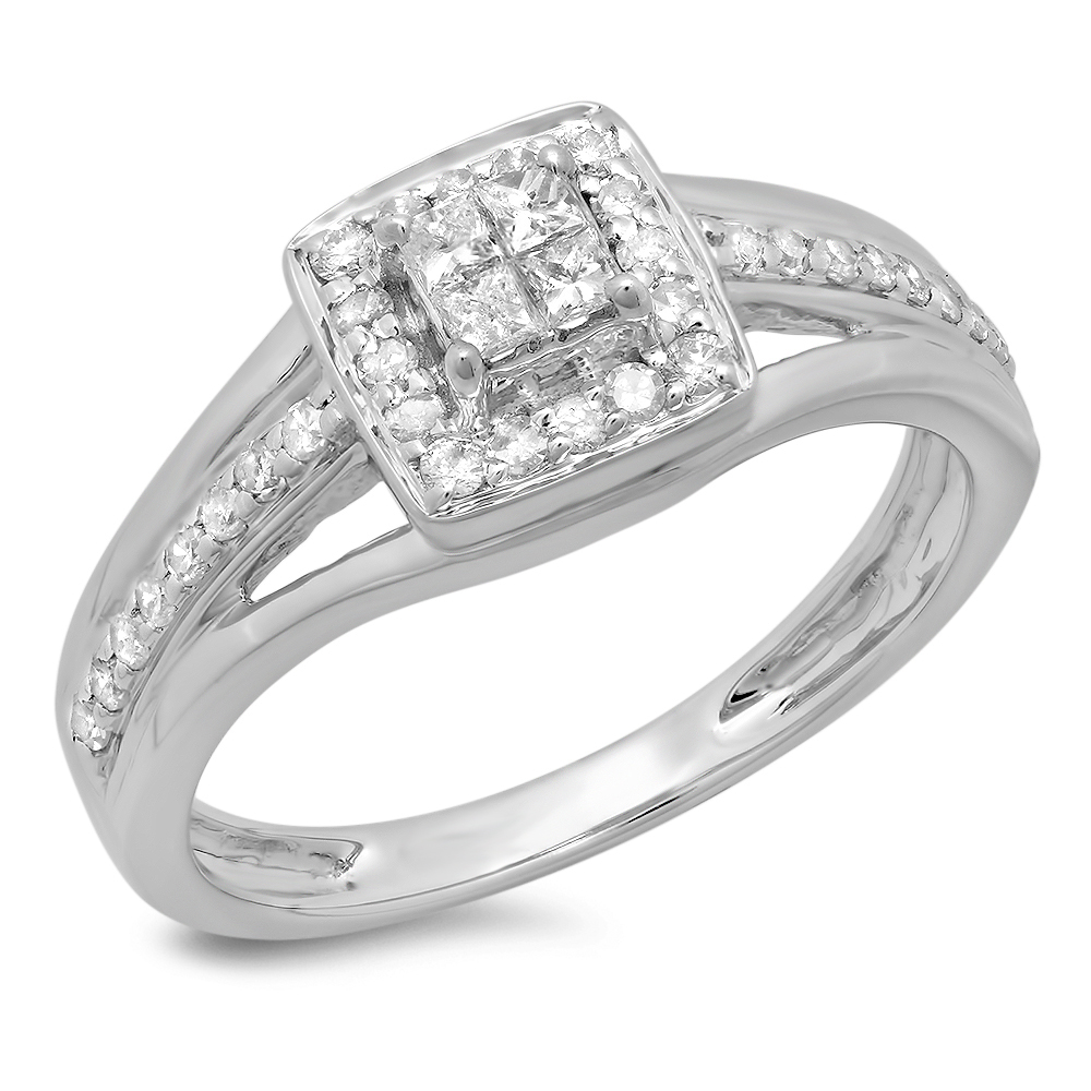 0.45 Carat (ctw) 14K Gold Princess & Round Cut Diamond Ladies Split Shank Bridal Engagement Ring 1/2 CT