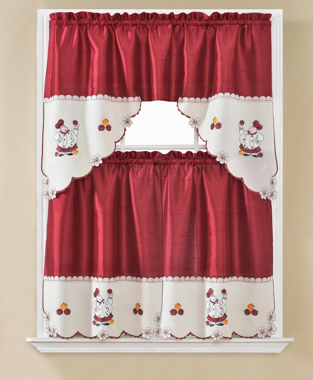 3 Piece Red With Embroidery Big Chef Window Treatment Kitchen Cafe Curtain Tier Panels Valance Set Walmart Com Walmart Com