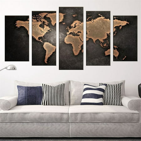 Large Canvas Map Of The World.5pcs 3d World Map Art Oil Painting Large Canvas Huge Modern Home