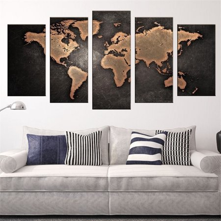 5pcs 3d World Map Art Oil Painting Large Canvas Huge Modern Home