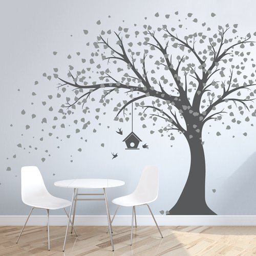 Wallums Wall Decor Large Windy Tree with Birdhouse Wall Decal