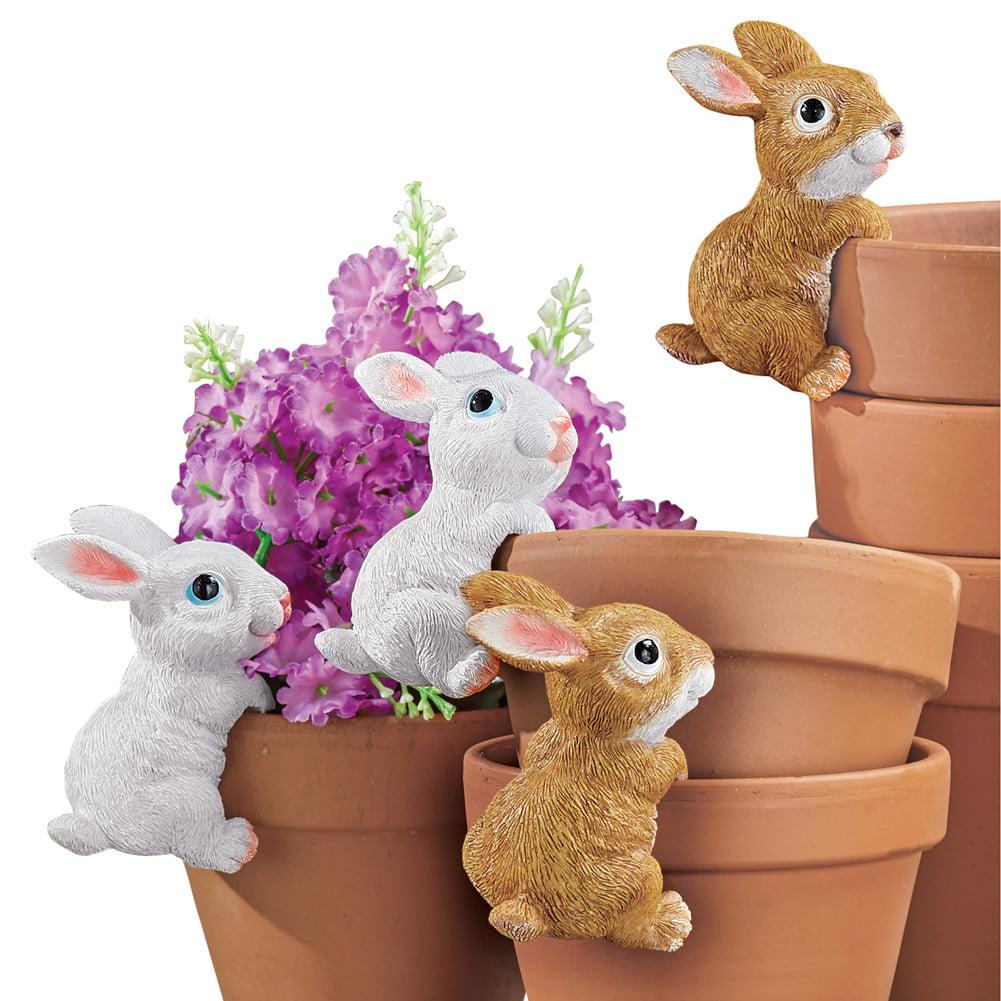 Bunny Planter Pot Hanger Decorations - Set of 4, Indoor or Outdoor Decorative Accent