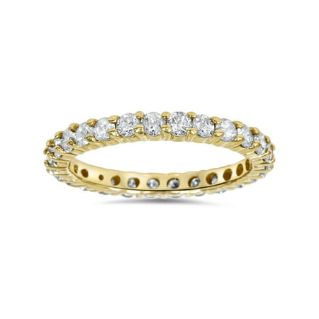 - 1 1/2ct Prong Diamond Eternity Ring 14K Yellow Gold