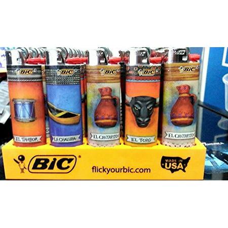 Five Pocket Design (Bic Hispanic Lighter - 5 Lighters - Color and design maybe vary)