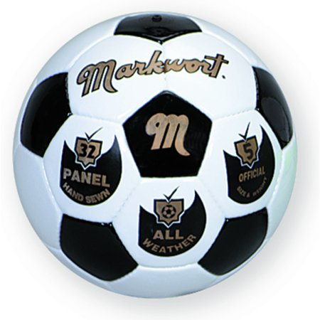 Markwort Synthetic Leather 32 Panel Soccer Ball - Black/White - Size 5 Leather Soccer Ball