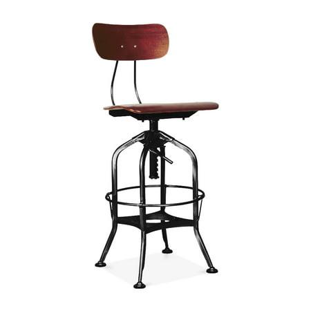 Toledo Red Walnut Black Adjule High Back Bar Chair 25 29 Inch