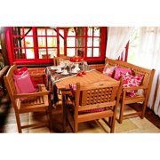 Amazonia Milano 5-Piece Rectangular Patio Dining Set | Eucalyptus Wood | Ideal for Outdoors and Indoors