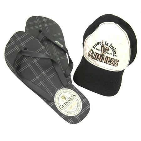 Guinness Beer Ireland Plaid Baseball Hat Flip Flops Combo Set - Cheap Irish Beer