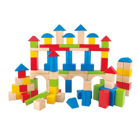 Hape Kid's Toddler 100 Piece Stacking Build Up and Away Wooden Blocks Toy Set (Word Blocks)