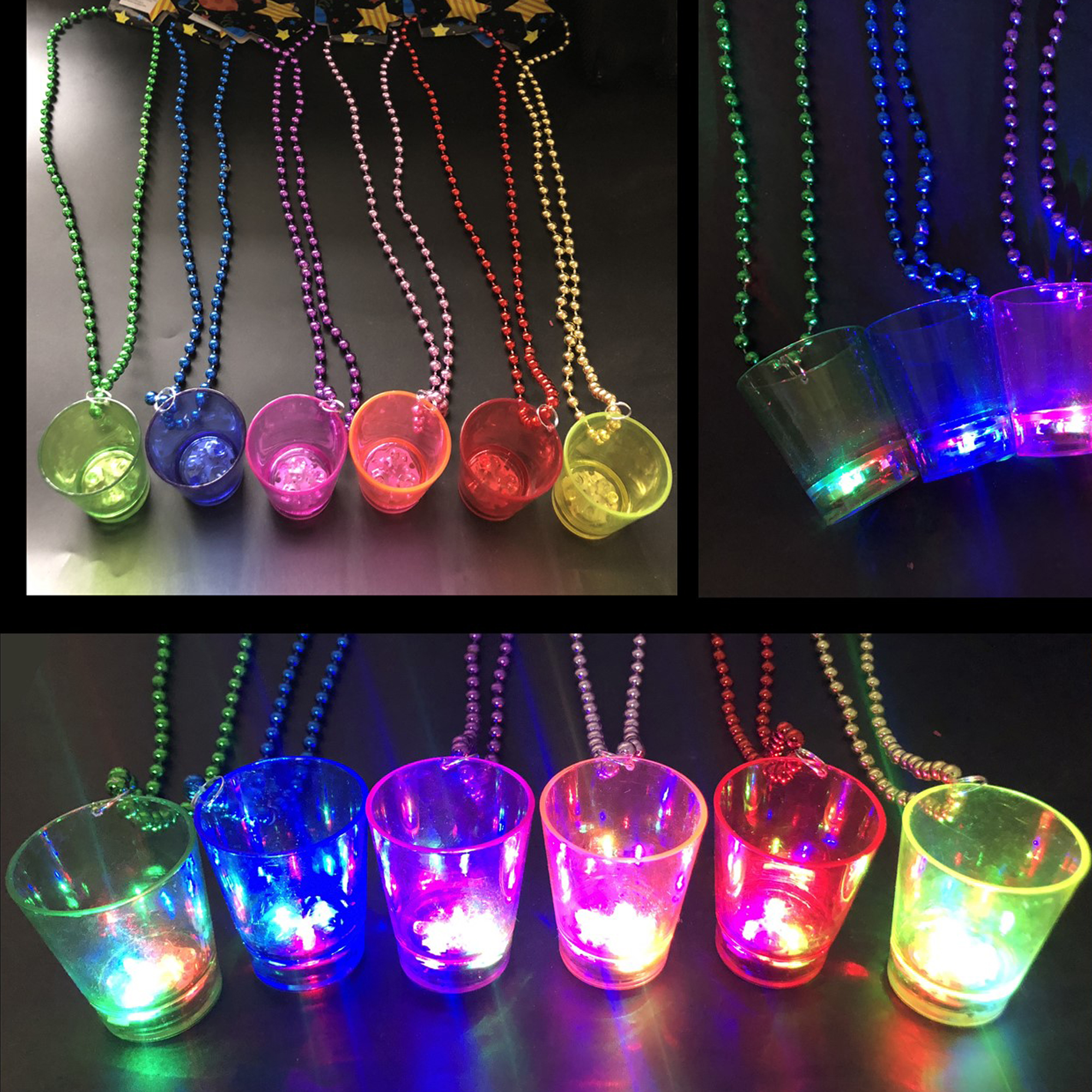 Happy New Year Shot Glass on Necklace Beads ASSORTED COLOUR BEADS
