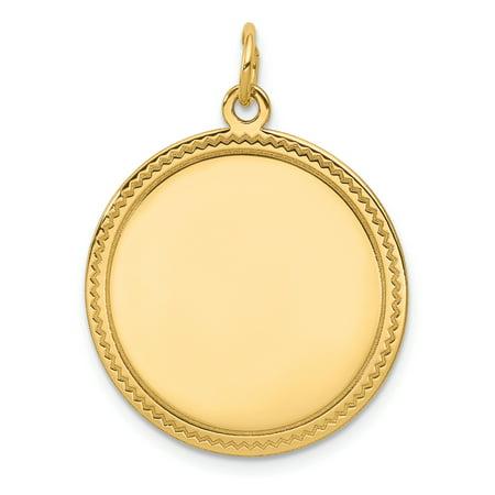 14K Yellow Gold Plain .011 Gauge Engravable Round Disc Charm - image 2 de 2