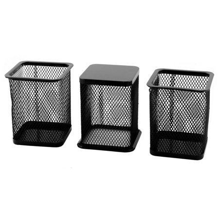 Office School Metal Rectangle Shaped Mesh Desktop Pen Pencil Holder Black 3pcs](Wood Pencil Holder)