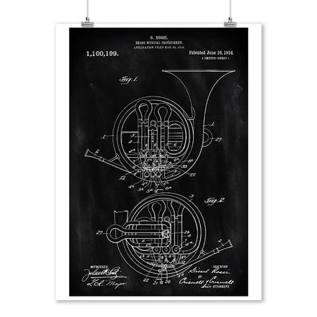 - Blackboard Patent - French Horn - Lantern Press Artwork (9x12 Art Print, Wall Decor Travel Poster)