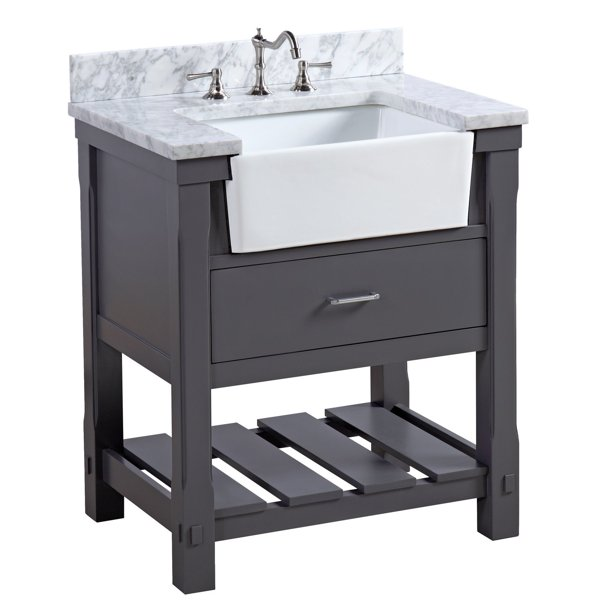 Charcoal Gray Farmhouse Bathroom Vanity