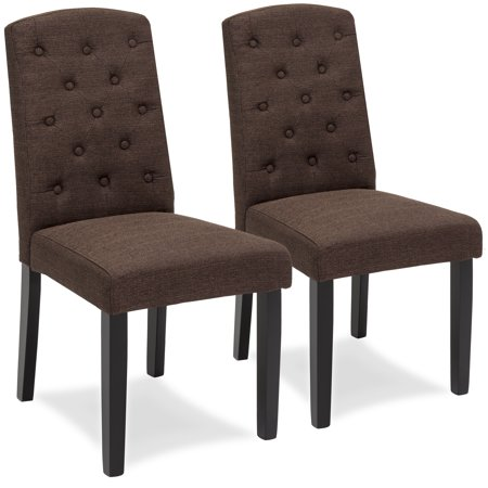 - Best Choice Products Set of 2 Tufted Fabric Parsons Dining Chairs Home Furniture for Dining and Living Room - Espresso