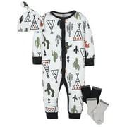 Modern Moments by Gerber Organic Baby Boy Coverall, Cap, & Wiggle-Proof Socks, 4 Piece Newborn-3/6 Months