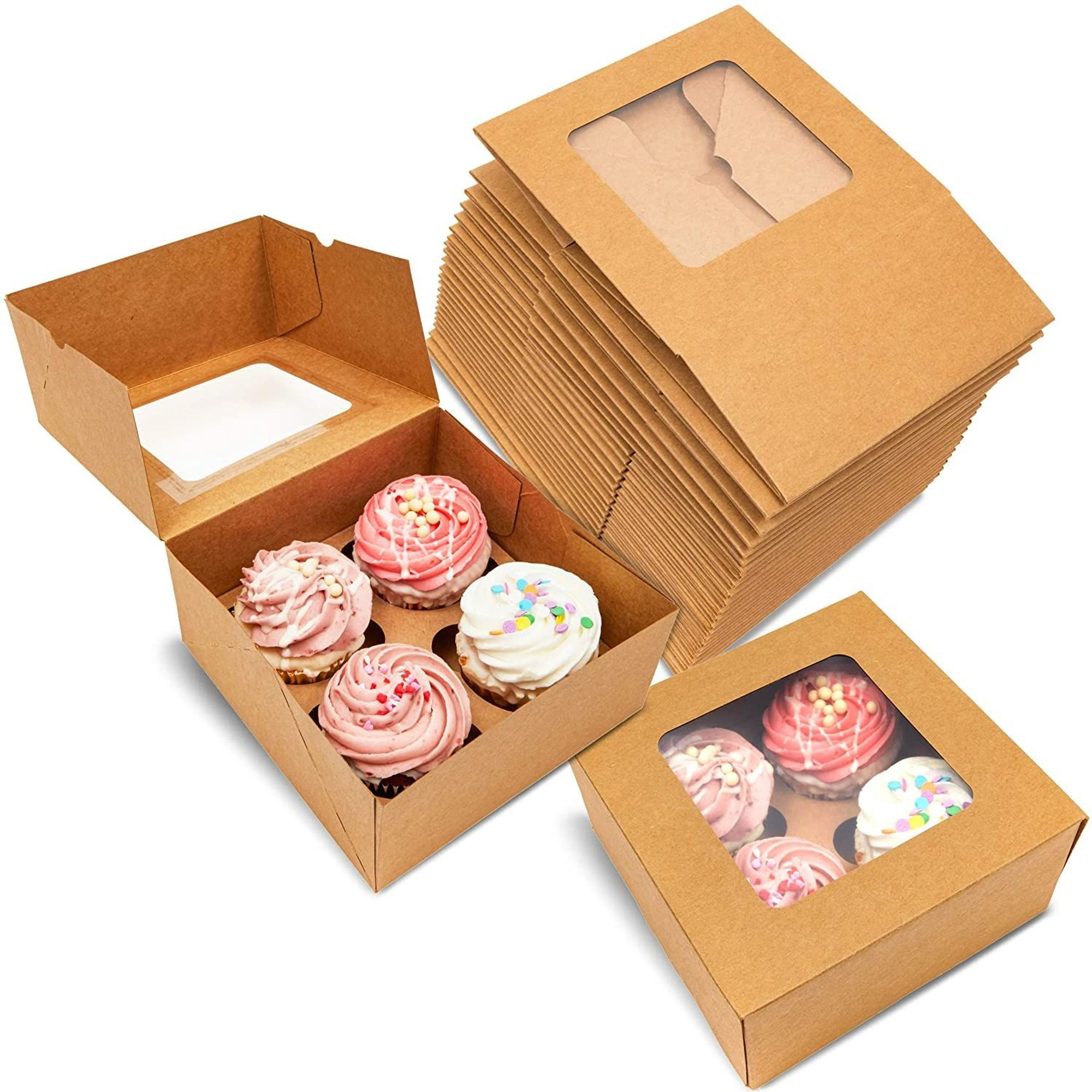 10Pcs Kraft Paper Cupcake Box Packaging Cake with Clear PVC Window Packing Case