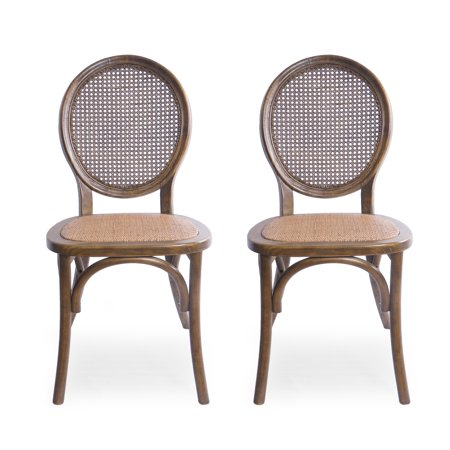 Denni Elm Wood and Rattan Dining Chair with Rattan Seat (Set of 2), Brown ()