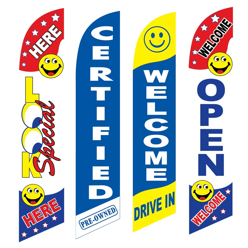 4 Advertising Swooper Flags Look Special Here Pre Owned Welcome Open